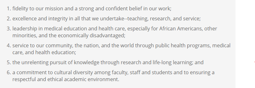 Core values of Howard University College of Medicine